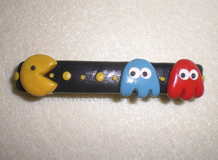 Pacman inspired hair pin