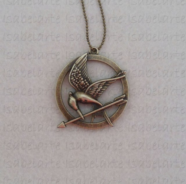 Mockingjay bronze inspired pendant