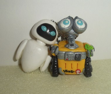 Inspired Keychain Set Wall-E and Eve