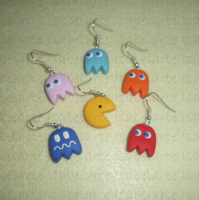 Earrings inspired by PacMan